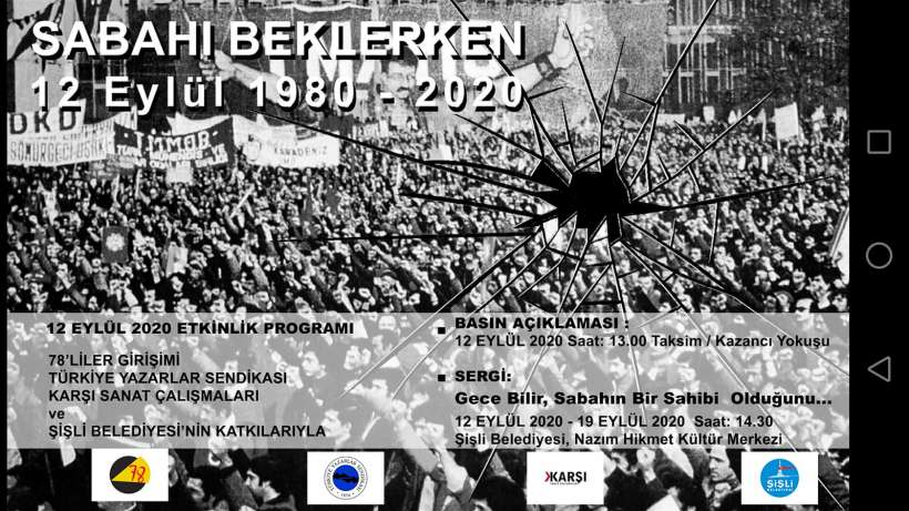12 Eylül cuntasına karşı 'Sabahı Beklerken' basın açıklamasına ve sergiye davet
