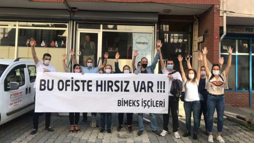 Bimeks işçileri tazminatları için Bimeks ofisi önünde eylem yaptı