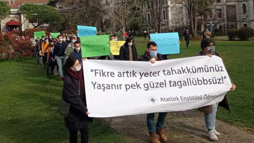 Boğaziçi Üniversitesi Atatürk Enstitüsü öğrencileri yürüyüş yaptı