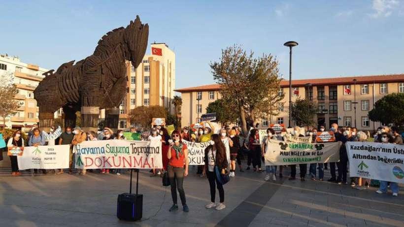 """Çanakkale'de çevre eylemi: """"Kaz Dağları'na sahip çıkmak memlekete sahip çıkmaktır"""