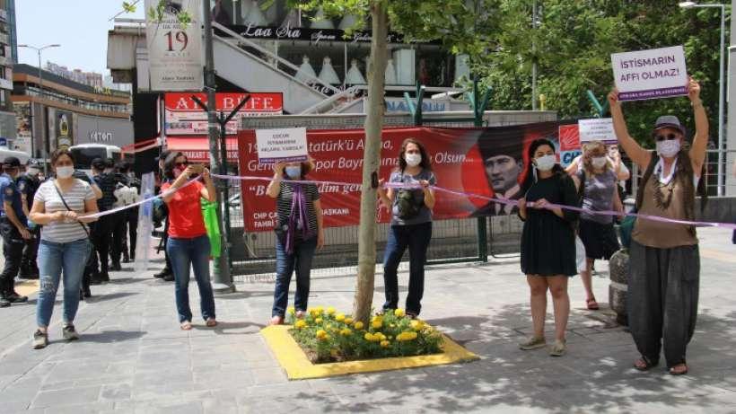 Cinsel istismar yasasına karşı mor kurdeleli eylem...Ankara, İzmir, Aydın, Muğla, Hatay, İskenderun...