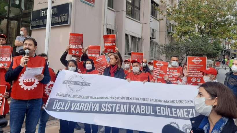 Dev Sağlık-İş üçlü vardiya sistemini protesto etti