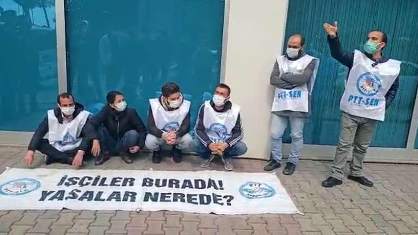 Direnişteki PTT-SEN üyeleri SGK önünde gözaltına alındı