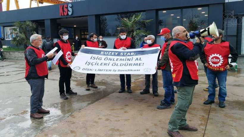 DİSK/ Limter-İş sendikası Tuzla Kuzey Star'da iş kazalarını protesto etti