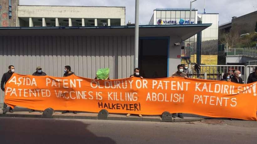 Halkevleri Pfizer önünden seslendi: Aşıda patent ve aşı ticareti insanlık suçudur