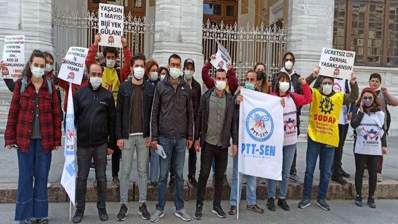 İstanbul 1 Mayıs Platformu'ndan direnişteki PTT işçilerine ziyaret