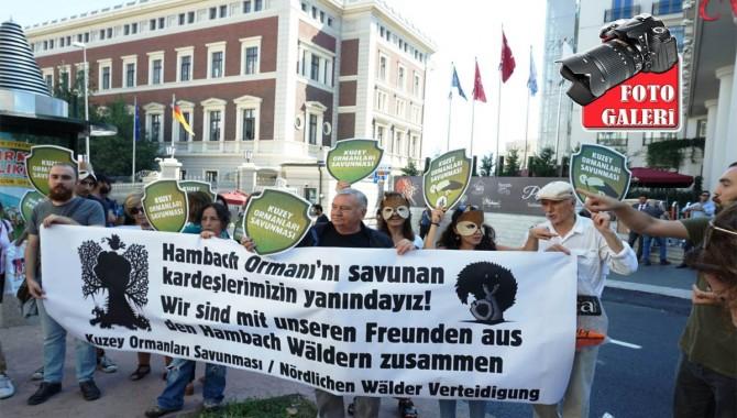KOS'tan Almanya Konsolosluğu önünde Hambach Ormanı'nı katletmesi nedeniyle protesto