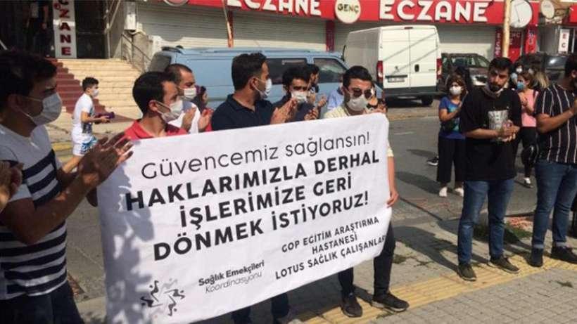 Lotus Sağlık Hizmetleri emekçileri ücretsiz izne karşı eylem yaptı