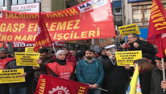 Makro işçileri Genel Müdürlük önünde eylem başlattılar