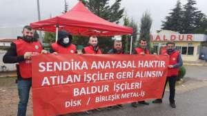 Baldur Süspansiyon işçileri direniş çadırı kurdu