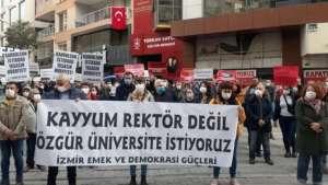 Ege'de 'kayyım rektör' protestosu