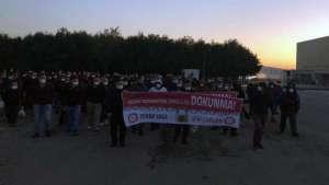 Gebze'de Bosal işçileri kıdem tazminatını gasbeden torba yasaya karşı eylem yaptı