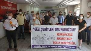 Gezi'de yaşamını yitirenler Mersin'de anıldı