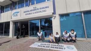 PTT işçileri SGK İstanbul İl Müdürlüğü önünde oturma eylemine başladı