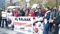 Sağlık çalışanlarından protesto... Aç kalmak istemiyoruz