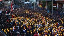 Zongludak'ta maden işçileri torba yasayı protesto etti